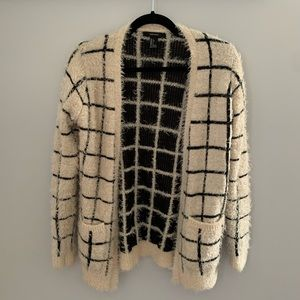 Plaid fuzzy Forever 21 cardigan sweater